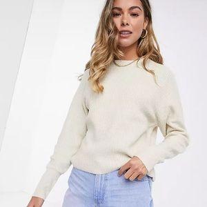 Cozy, boxy oatmeal crew neck knit sweater